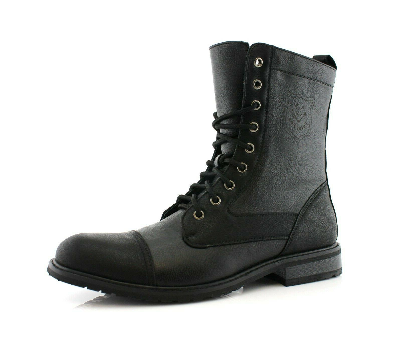 men s leather lace up black ankle