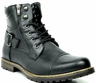 BRUNO MARC Men Motorcycle Combat Riding Leather Boots
