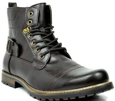 BRUNO MARC Men Military Motorcycle Combat Riding Leather Boots Size 6,5-12