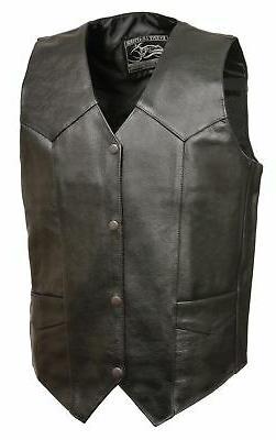 Black, 4X-Large Event Biker Leather Mens Basic Motorcycle Jacket with Pockets