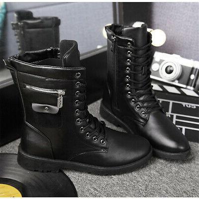 Men's Zipper Boots Lace