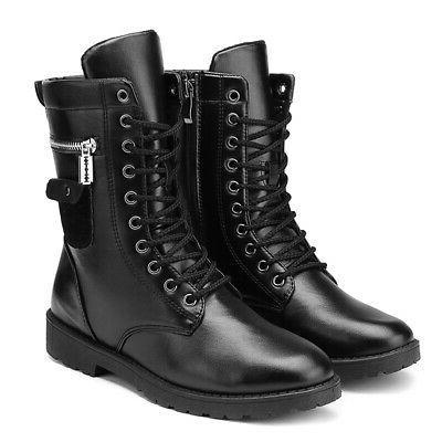 Men's Zipper Motorcycle Boots Combat Military Lace Shoes