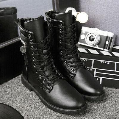 Men's Boots Combat Leather Lace Up