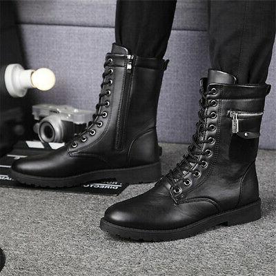 men s punk zipper motorcycle boots combat