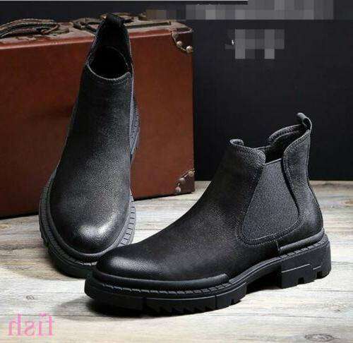 Men's Real Leather Motorcycle Pull On Chelsea Ankle Boots Ca