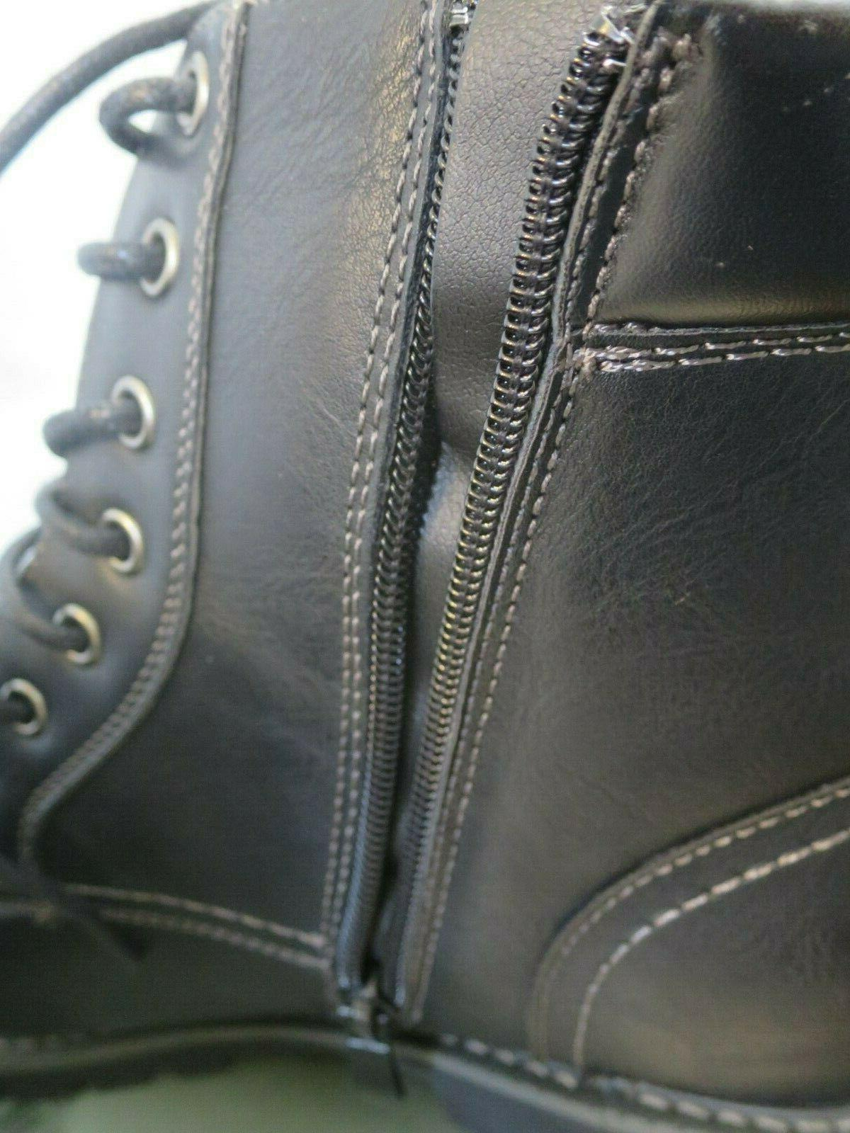 Bruno Marc Black Motorcycle Oxford Snow Boots 1