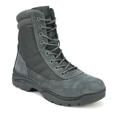 NORTIV 8 Men's Zip Military Tactical Work Leather Combat Boots