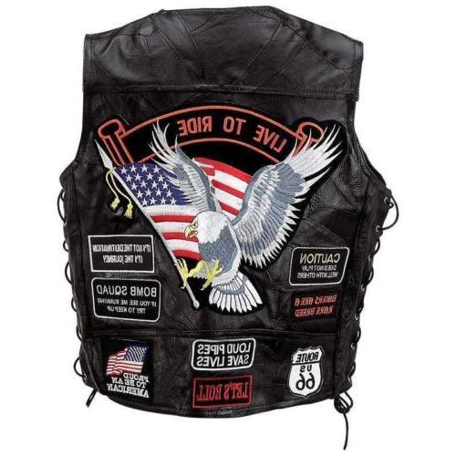 Mens Black Genuine Motorcycle VEST 14 Patches US Eagle Biker