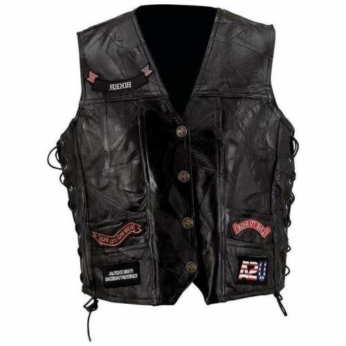 mens black genuine leather motorcycle vest w