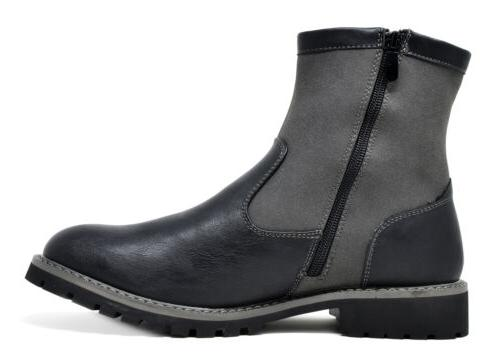 Mens Fashion Ankle Boots Side Motorcycle
