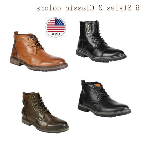 Mens Fashion Zip Dress Oxford Motorcycle Combat Boots Riding