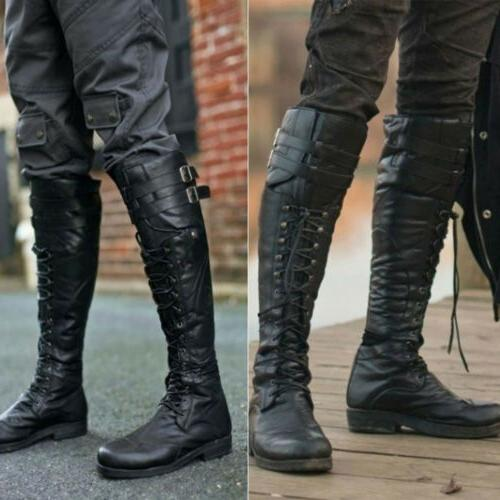 Mens Motorcycle Boots Knight Knee Rivets Punk Vintage US