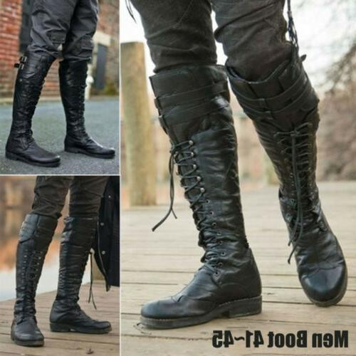Mens Leather High Boots Retro Boot Shoes