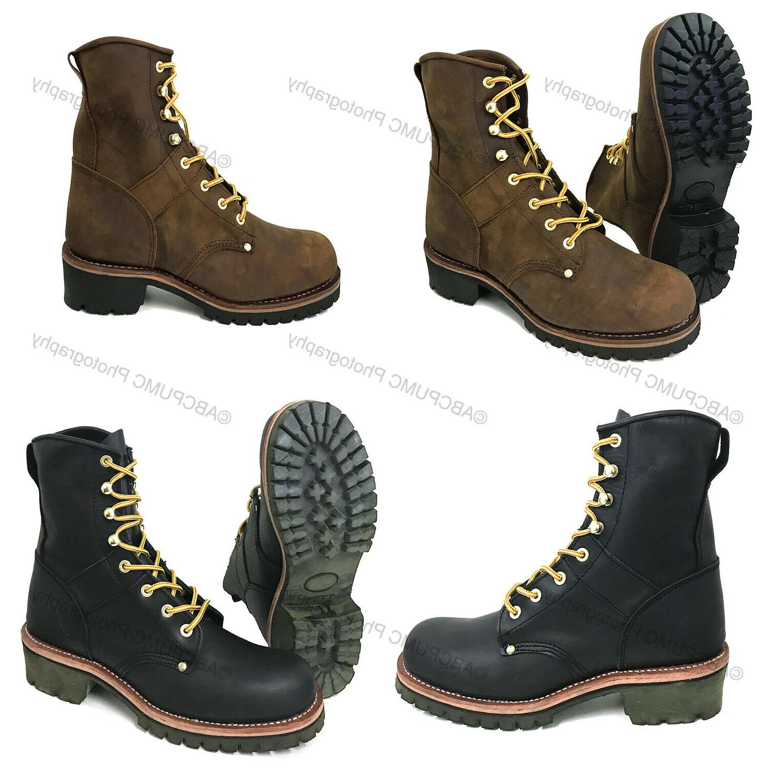 mens logger boots leather 10 good year