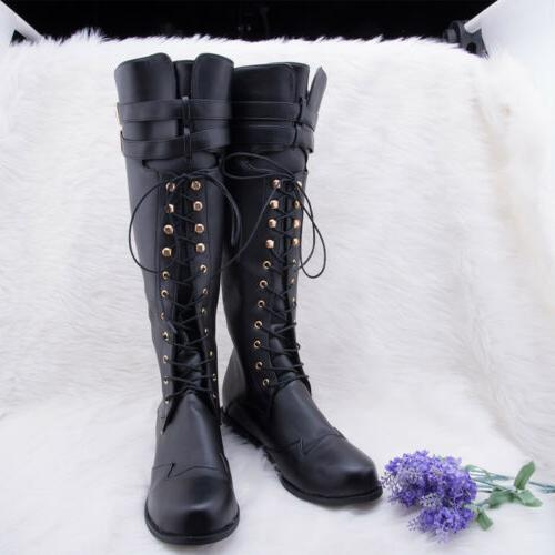 Boots Knee Rivets Punk Vintage Shoes US