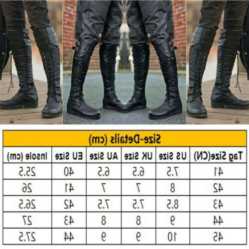 Mens Leather Knee High Boot Lace Shoes