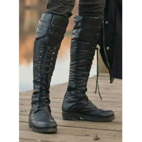 Mens Pirate High Boots Combat Boot Up Shoes