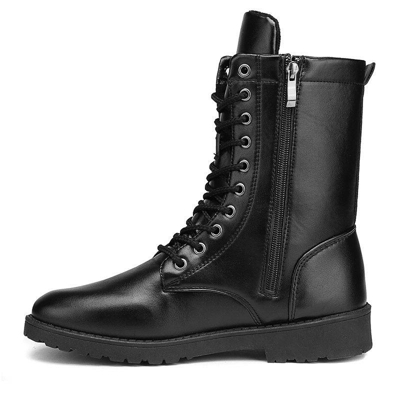 Mens Punk Zipper Motorcycle Military Shoes