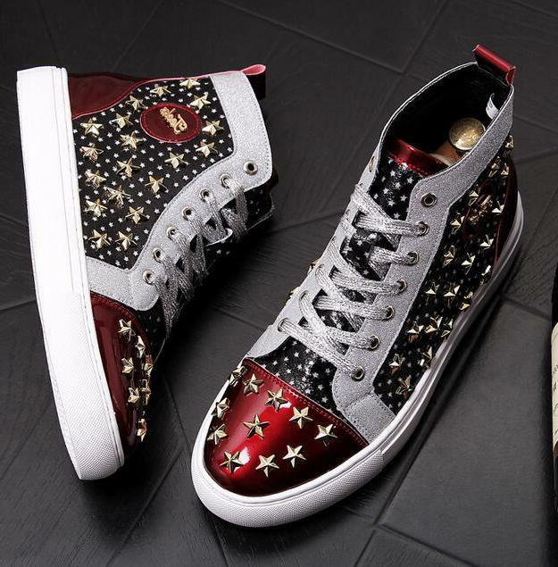 Mens Punk Motorcycle Boots Rivet Star Color Outdoor