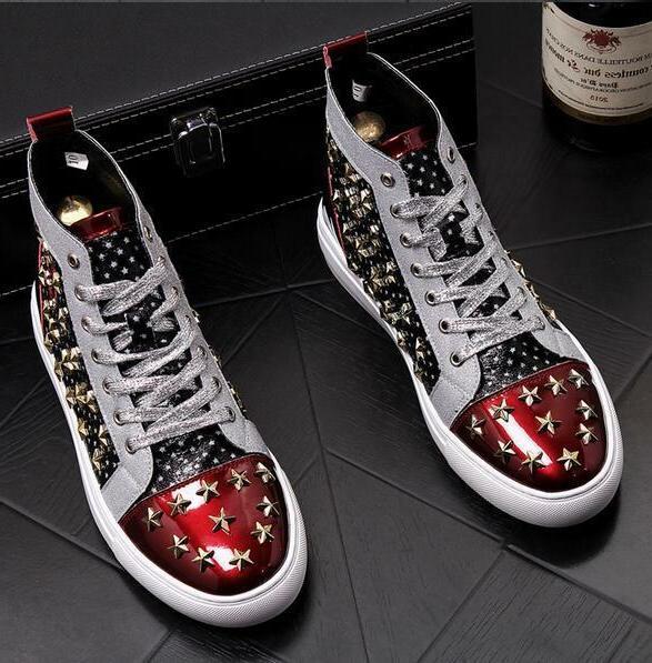 Mens Punk Boots Star Color