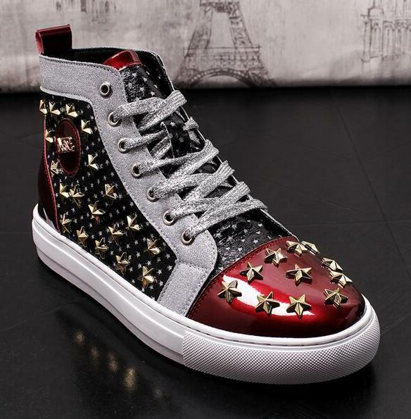 Mens Punk Motorcycle Ankle Boots Rivet Star Multi Color Stitching