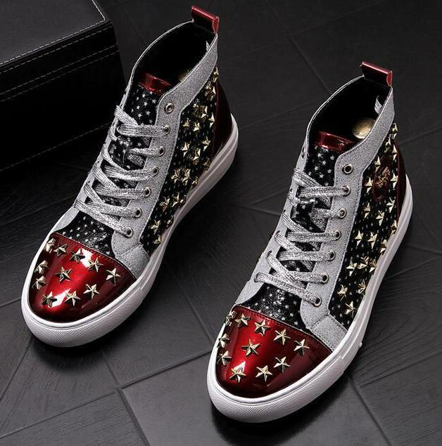 mens punk motorcycle ankle boots rivet star