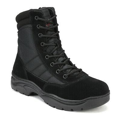NORTIV 8 Zip Military Work Leather Combat Boots