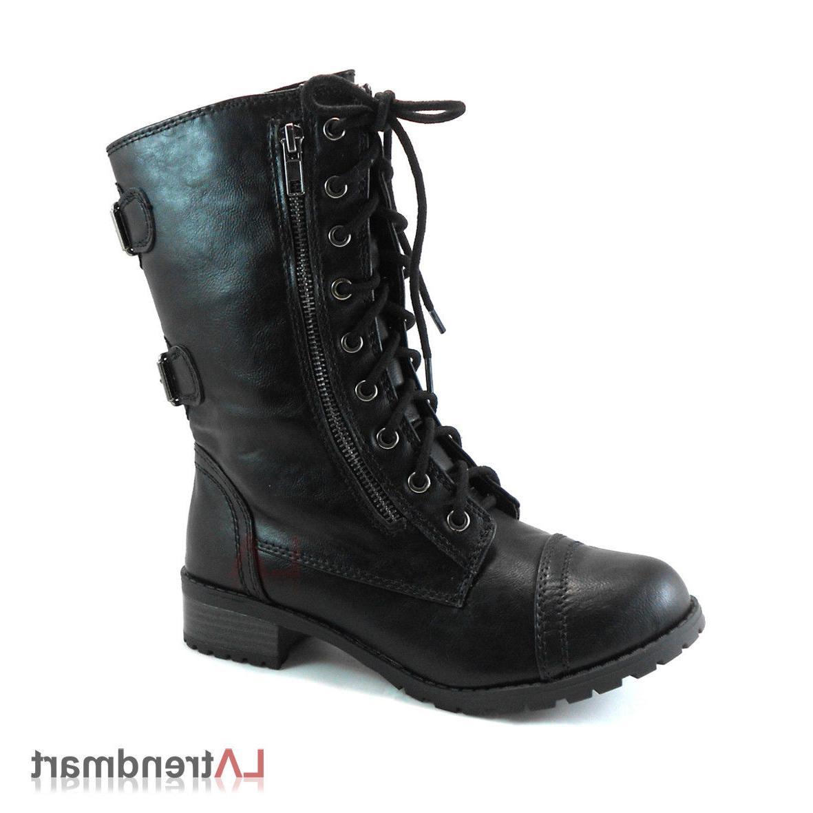Women Combat Calf Boots Zipper Soda Black