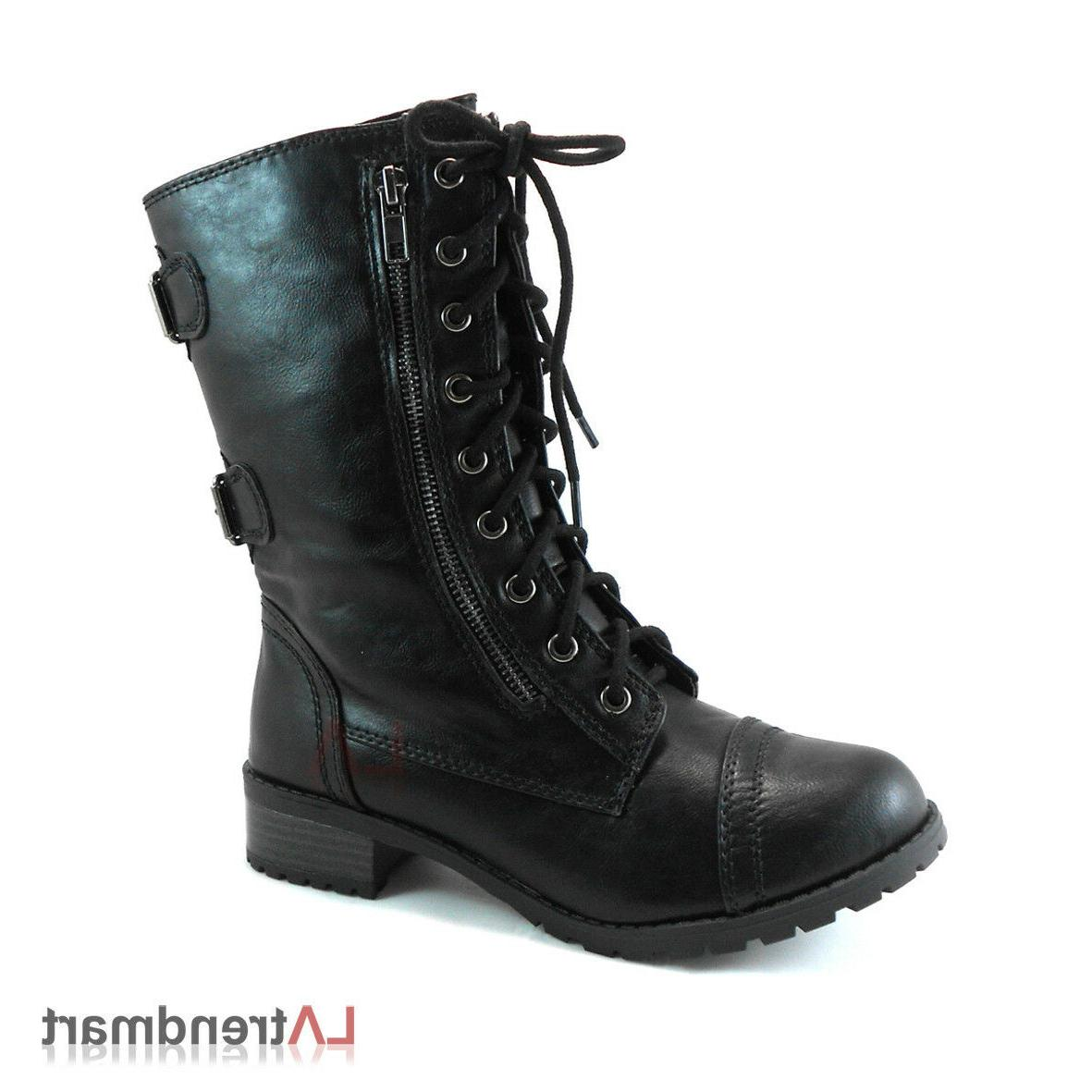 Women Combat Calf Boots Zipper Soda Black