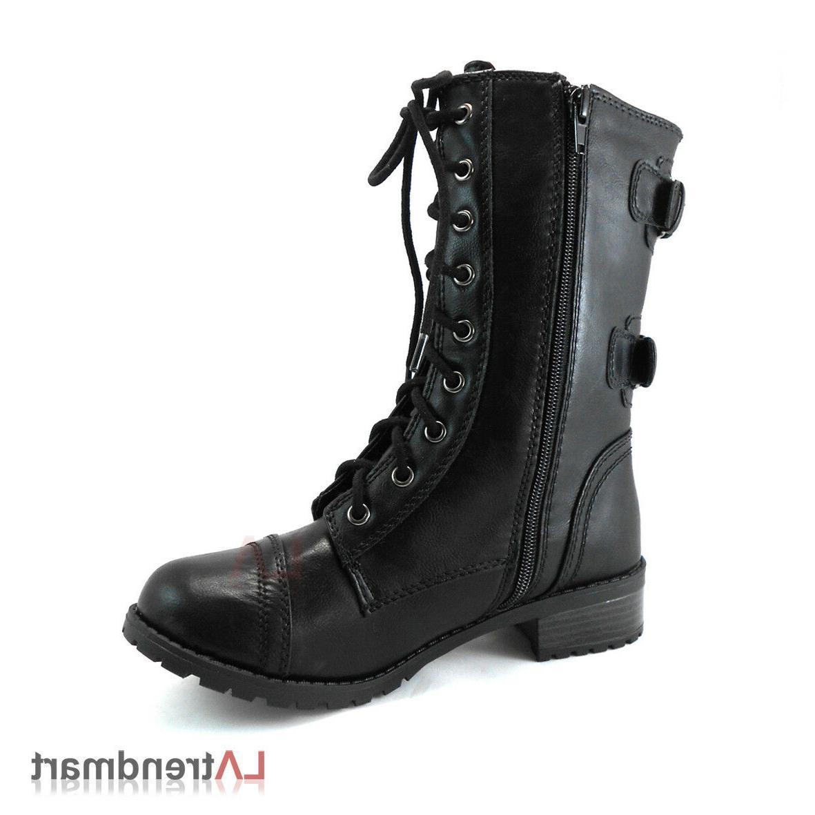 Women Combat Mid Calf Motorcycle Boots Zipper Black