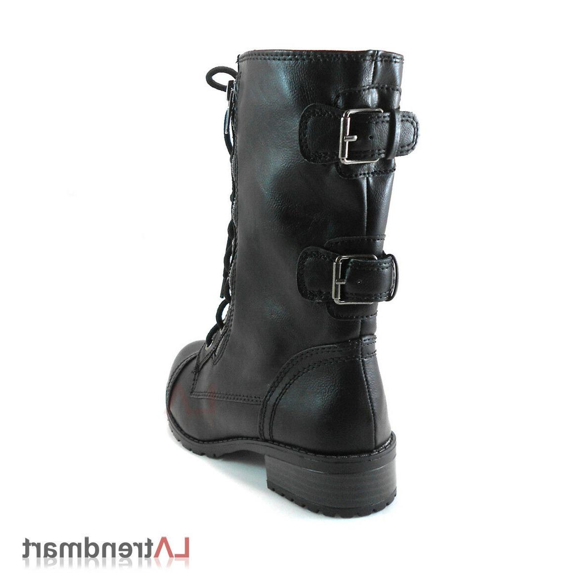 Women Military Calf Motorcycle Lace Boots Soda Black