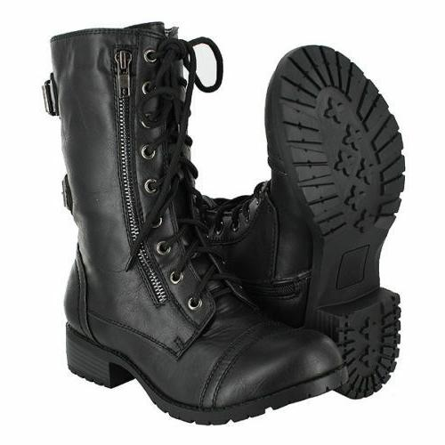 MILITARY COMBAT  MOTORCYCLE LACE UP WOMEN BOOTS ZIPPER SODA