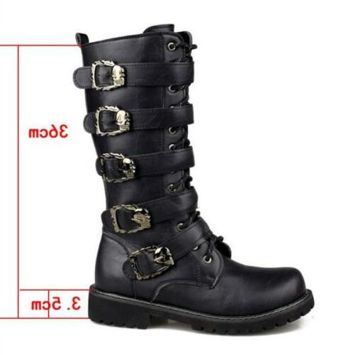 motorcycle under knee high boots zip buckle combat Casual shoes
