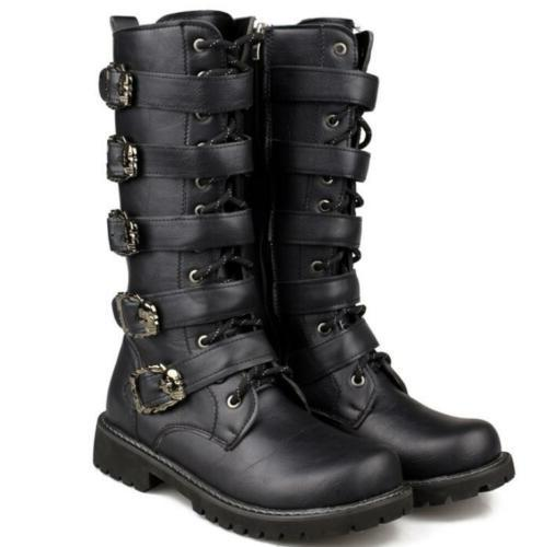 motorcycle Mens under knee high boots buckle strap shoes