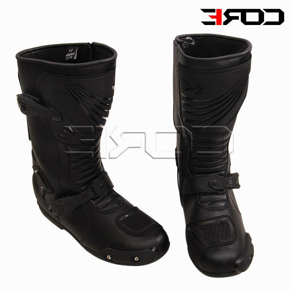 Motorcycle Riding Waterproof Leather Anti-Skid Racing Boots