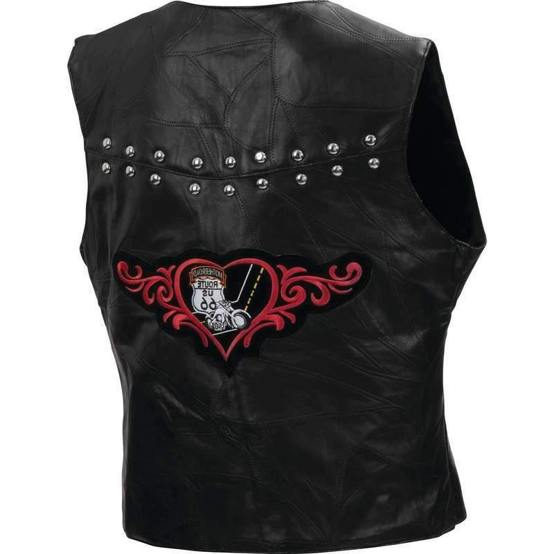 motorcycle vest leather ladies route 66 studs