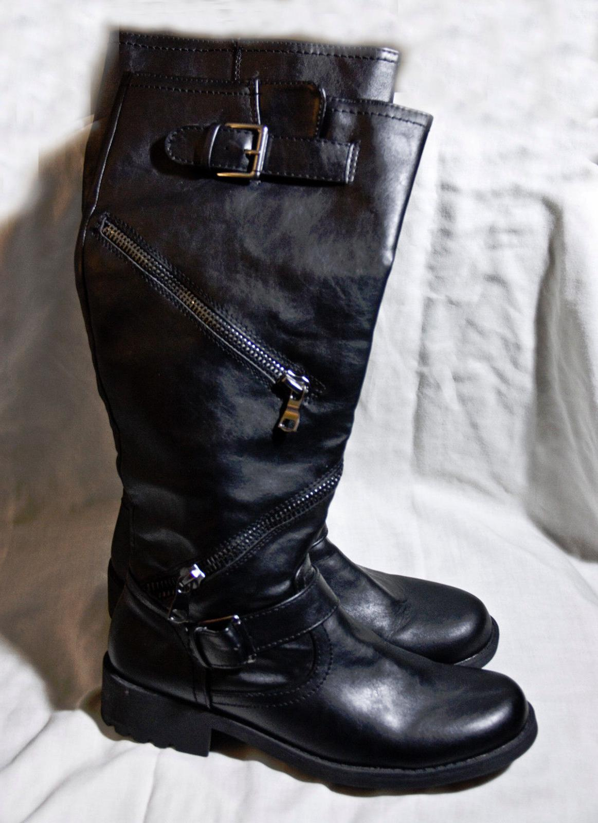 multi zipper faux leather knee high boots