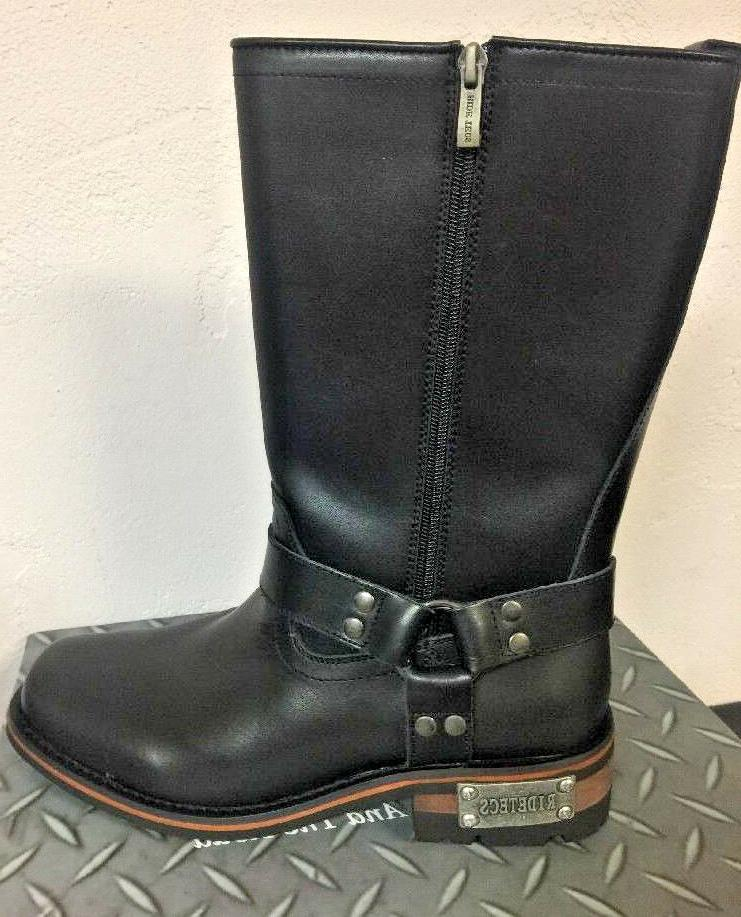 NEW Mens Tecs Double Zipper Leather Boots Black Motorcycle Work 1501
