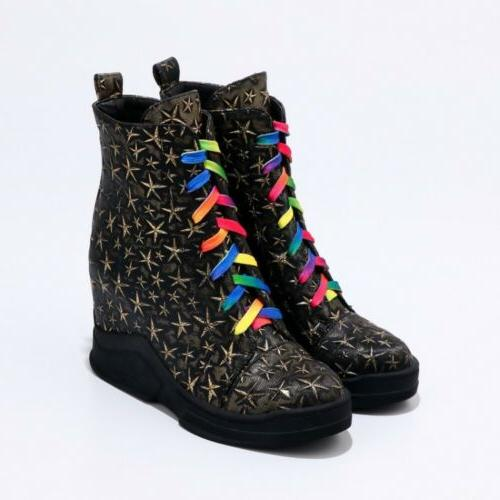 New Women Multi-Color Boots Lace up