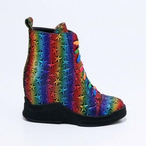 New Women Boots Wedge Platform Lace Star