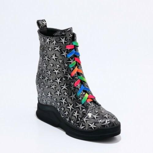 New Women Motorcycle Boots Wedge Lace Star
