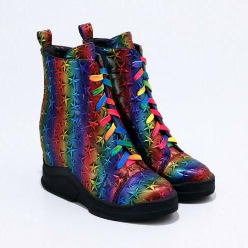 New Women Multi-Color Boots Heels Lace