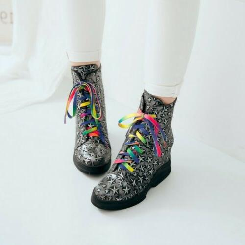 New Motorcycle Boots Wedge Lace up Star