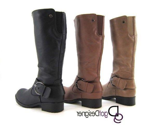 NEW Women's Fashion Shoes Cool Riding Knee Boots Motorcycle Slouch