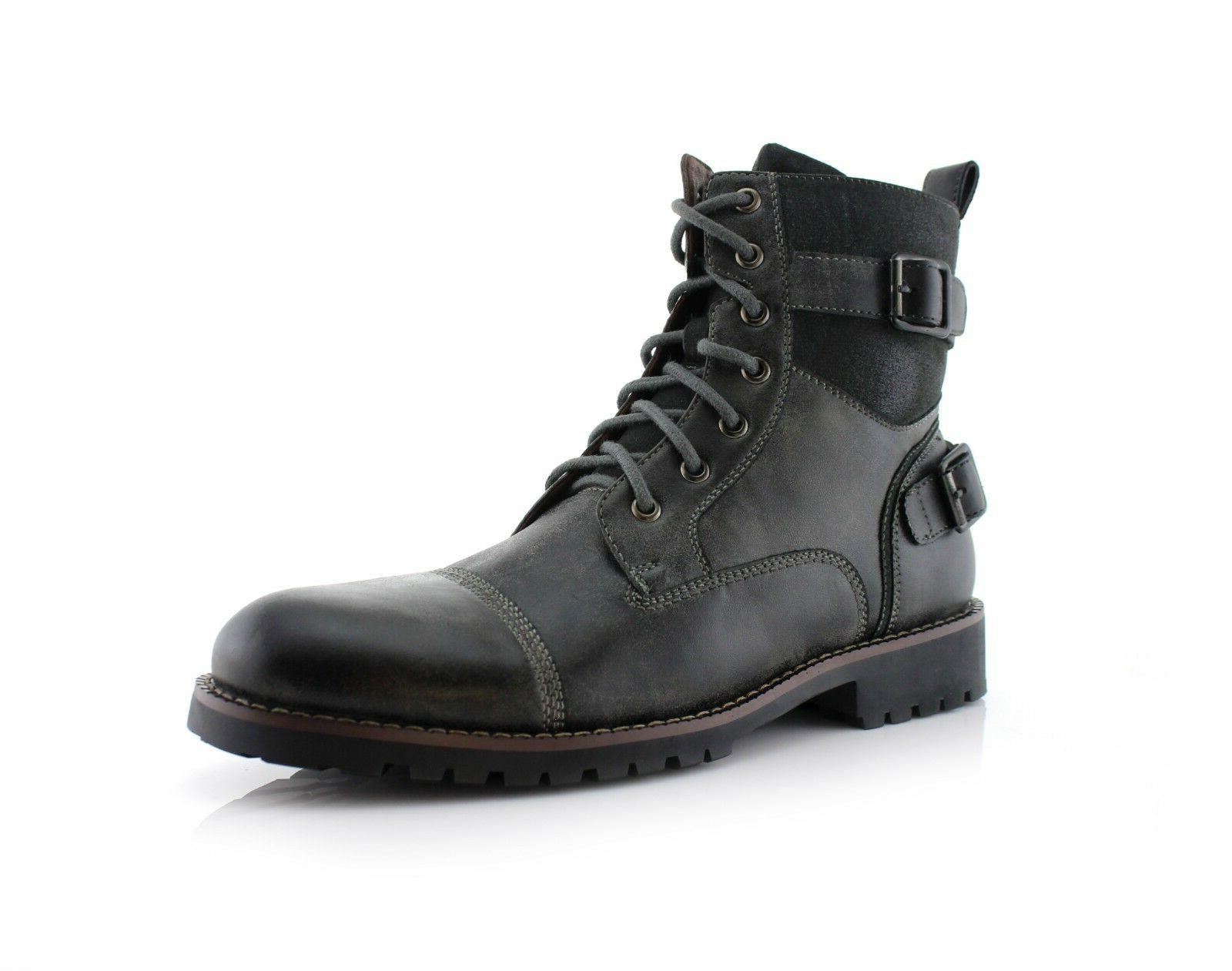 Men's Casual Boots Riding Hiking Buckle Synthetic Leather