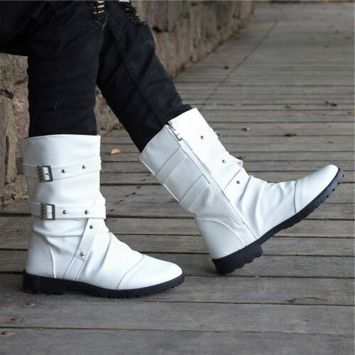 Punk Combat Boots Zipper Leather Casual Shoes