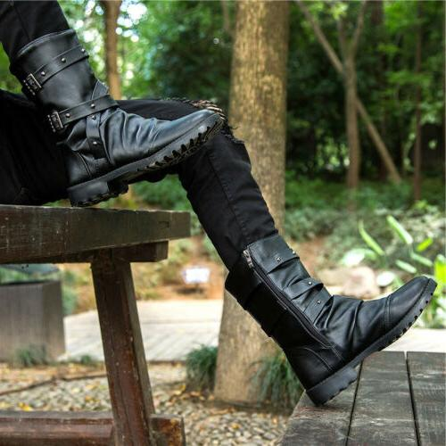 Punk Mens Combat Military Boots Zipper Motorcycle Martin Leather