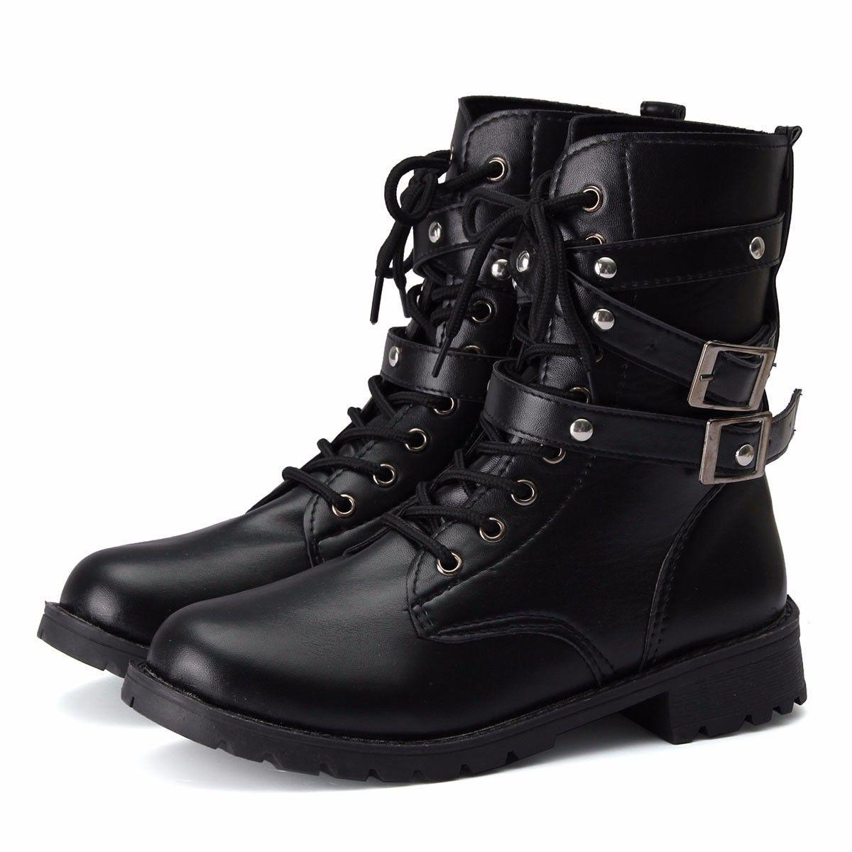 Punk Women's Motorcycle Biker Military Buckle Ankle Shoes