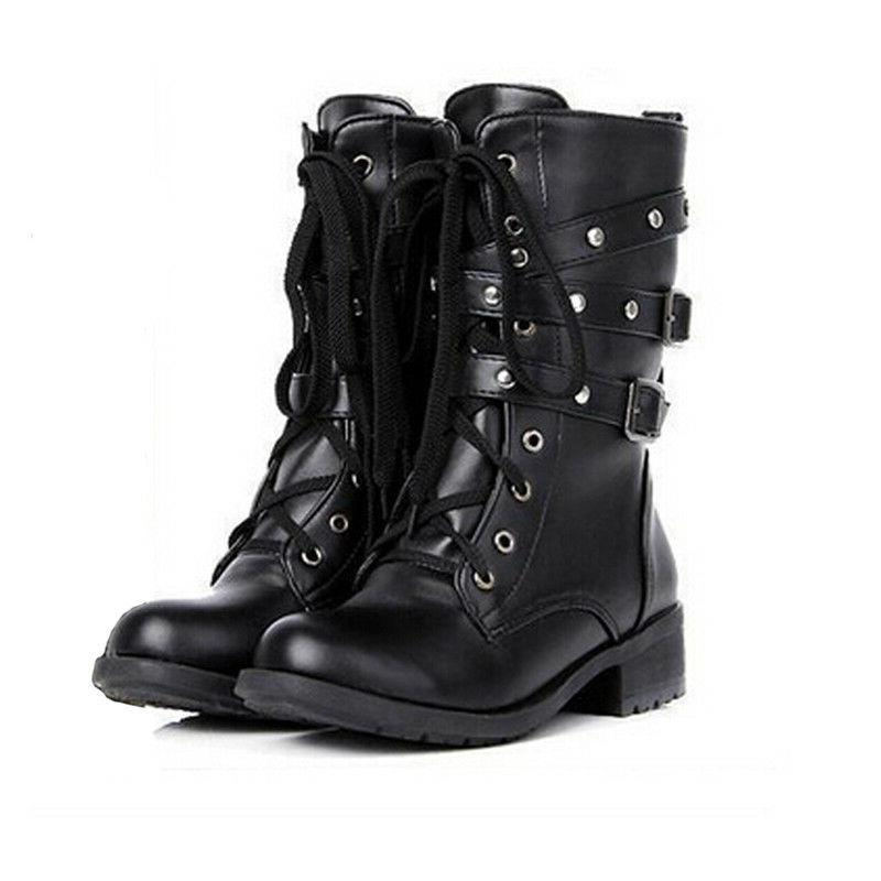 Punk Women's Motorcycle Biker 3 Buckle Ankle