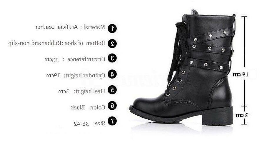 Punk Women's Combat Boots Motorcycle Buckle MidCalf Shoes